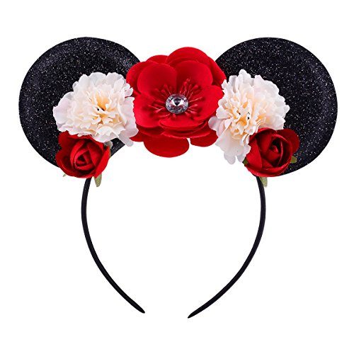 Lovefairy Lovely Mickey Mouse Ears Flowers Headband Hoop Hair Accessories for Birthday Party Travel Festivals (Black Red)