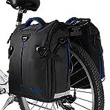BV Bike Panniers (Pair), Large Capacity, 14 L (each pannier), Black with Detachable Shoulder Straps and All Weather Rain Covers