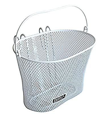 Basket with hooks WHITE, Front , Removable, wire mesh SMALL, kids Bicycle basket , WHITE by Biria