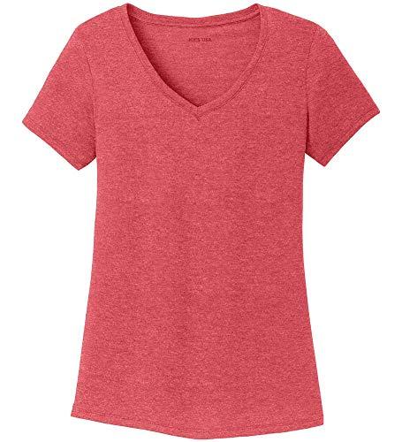 Womens Red Heather V-neck Tee - Joe's USA Ladies Tri-Blend Heather V-Neck T-Shirt-Red-XL