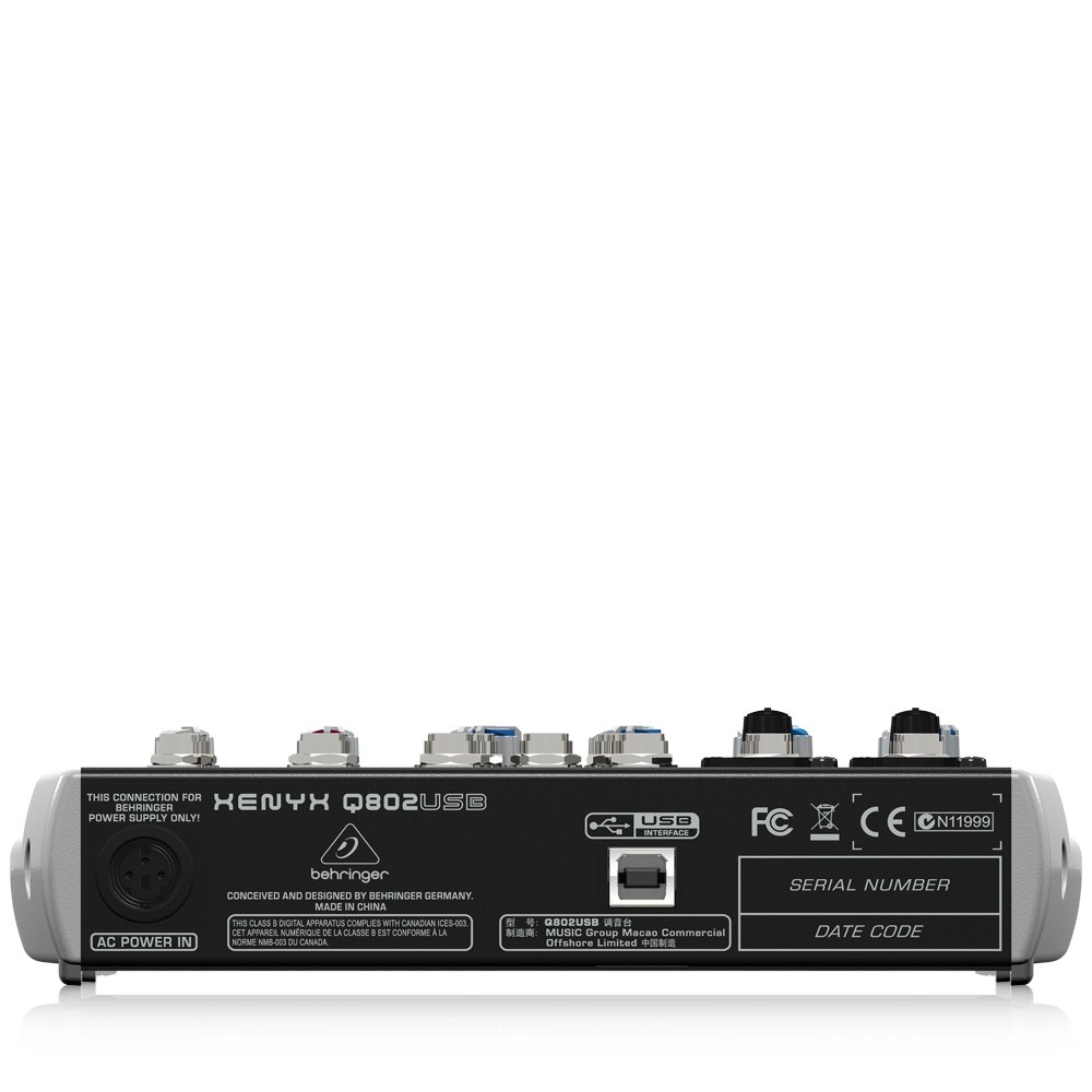 Behringer Xenyx Q802usb Premium 8 Input 2 Bus Mixer With Crossover Wiring Diagram Usb Audio Interface Electronics
