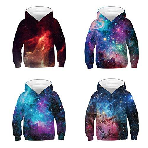 Cyhulu Teen Kids Boys Girls Hooded Sweatshirt, Fashion Cartoon Galaxy 3D Print Pocket Pullover Hoodie Sweatshirt Outwear Cloth Outfits Kids 4-13 Years
