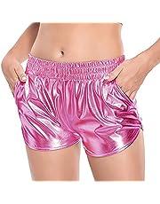 Fenyong Women's Metallic Shorts Shiny Pants with Elastic Waist Hot Rave Dance