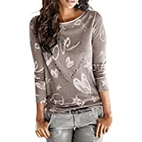 Litetao Womens Ladies T-shirt Love Heart Printed Long Sleeve Blouse Casual Loose Top