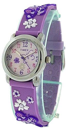 Timex Girls T74002 Purple Butterfly Flowers Resin Strap Watch