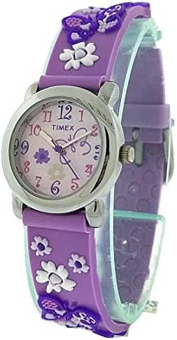 Timex Girls T74002 Purple Butterfly Flowers Resin Strap Watch