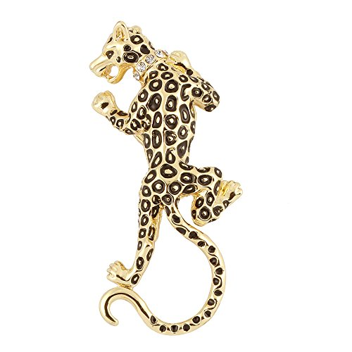 BEICHUANG Black Spots Leopard Rapid Animal Sunglass Eyeglass Holder Cool Brooch Pin ()