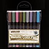 Fine Metallic Markers Paint Pen, Permanent Glitter Point Medium-Tip, For Black Paper, Painting Rocks, Glass Glitter Paint Writing, Photo Album, DIY Craft Kids Gift Holiday ornaments, 9/Set