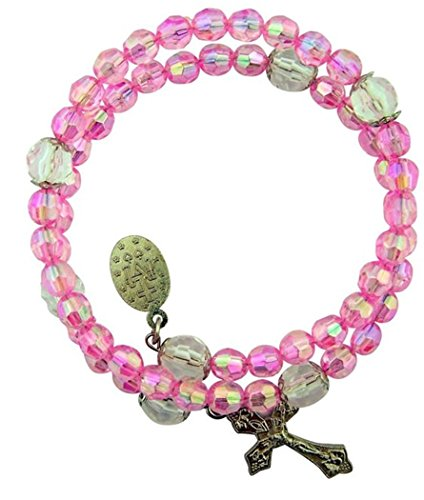 Acrylic Pink Prayer Bead Rosary Wrap Bracelet with Miraculous Medal, 8 Inch