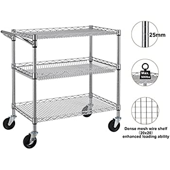 Finnhomy 3 Tier Heavy Duty Commercial Grade Utility Cart, Wire Rolling Cart  With Handle Bar