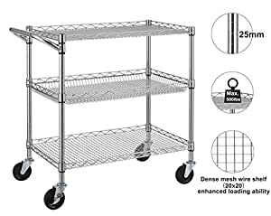 Finnhomy 3 Tier Heavy Duty Commercial Grade Utility Cart, Wire Rolling Cart with Handle Bar, NSF Listed
