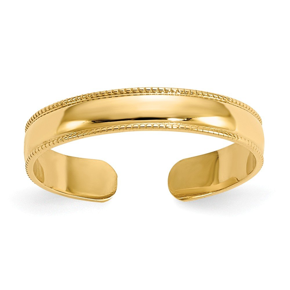 14K Yellow Gold Toe Jewelry Rings Solid 3 mm Mill Grain Adjustable Toe Ring by ZenJewels