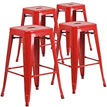 Flash Furniture 30-Inch High Backless Red Metal Indoor-Outdoor Barstool with Square, 4-Pack