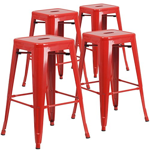 Flash Furniture 4 Pk. 30'' High Backless Red Metal Indoor-Outdoor Barstool with Square (Design Square Metal)