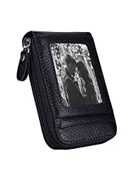 RFID Blocking Leather Credit Card Wallet with Zipper, Card Holder Case Organizer (Black)
