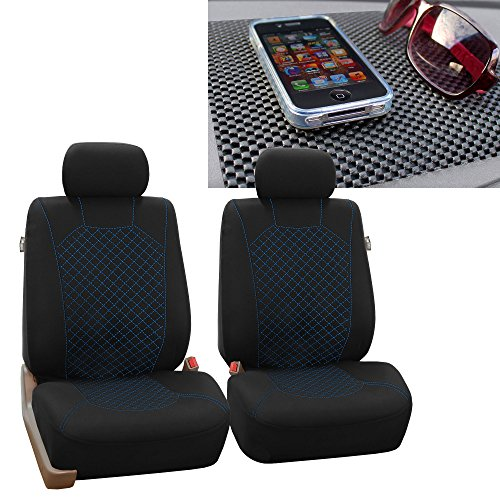 FH GROUP FH-FB066102 Ornate Diamond Stitching Car Seat Covers, Blue / Black with FH GROUP FH1002 Non-Slip Dash Pad- Fit Most Car, Truck, Suv, or Van (2000 Mitsubishi Dash Mat)