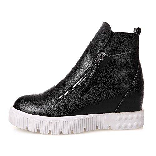 Boots Black Allhqfashion Zipper Round Closed Women's PU Heels Solid Kitten Toe 7gzw7v