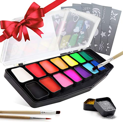 Pretty Face Painting Ideas For Halloween (festiFACE Face Painting Kit for Kids and Adults | Award Winning 14 Color, Glitter and UV Neon, Hypoallergenic Complete Gift Set to BOSS Your Christmas Facepainting | RRP)