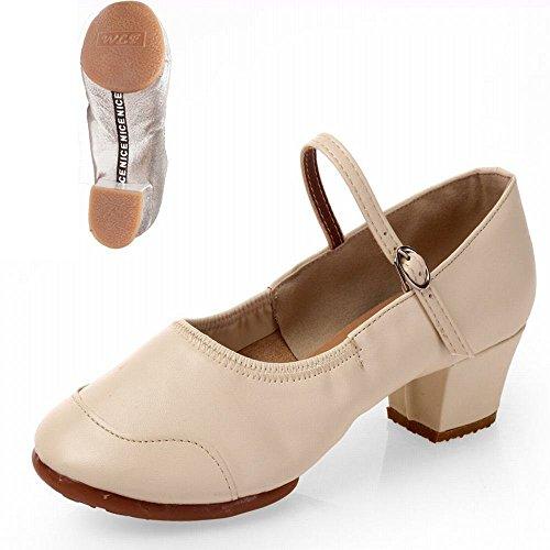 Zapatos Blanco Baile Cuero con Jazz de BYLE Sandalias Tobillo de Samba Modern Suave Onecolor de Fondo Mostrar Zapatos Baile 7qwqS04a