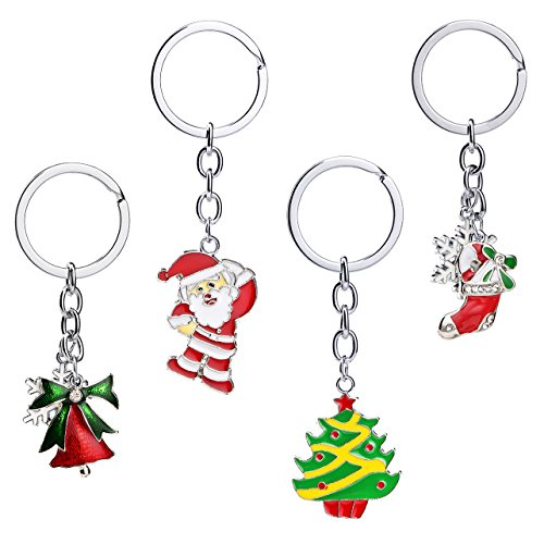 iWenSheng Christmas Gift Enamel Key Chain Key Rings Pack of 4pcs Purse Pendant Handbag Charm Decoration Clothing Accessories With Gift Box