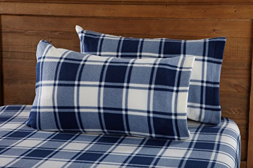 Great Bay Home Super Soft Extra Plush Plaid Polar Fleece Sheet Set. Cozy, Warm, Durable, Smooth, Breathable Winter Sheets with Plaid Pattern. Dara Collection Brand. (Twin, Navy)