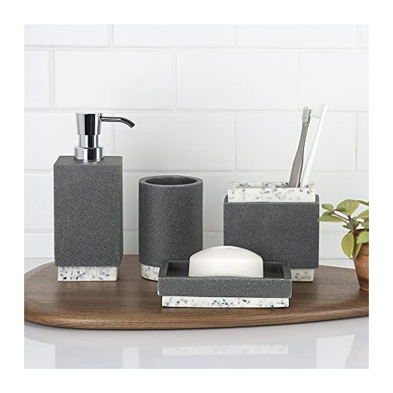 Allure Home Creation Marcello Stone 4-Piece Bathroom Accessory Set- 1 Lotion Pump, 1 Toothbrush Holder, 1 Soap Dish and 1Tumbler -  - bathroom-accessory-sets, bathroom-accessories, bathroom - 51eWPomLakL. SS570  -