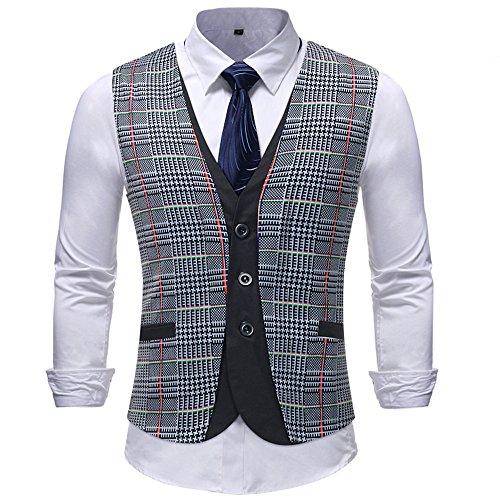 Men Coats Hot WEUIE Men Casual Printed Sleeveless Jacket Coat British Suit Vest Blouse (5XL, Gray) by WEUIE (Image #2)