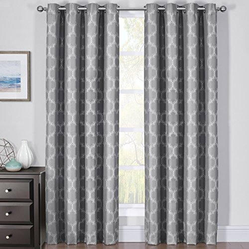 Royal Bedding Alana Gray Curtains, Top Grommet 100% Blackout, Thermal Insulated Window Curtain Panels, Pair/Set of 2 Panels, 54Wx84L inches -