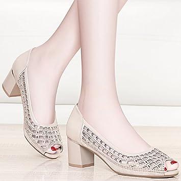 Damen Sommer Sandalen Mode Ein Wort Schnalle Dick mit Wild High Heels, Golden, 36