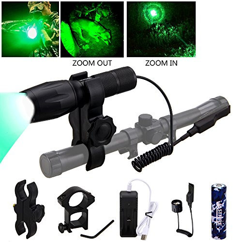 VASTFIRE 350 Yard Green Hunting light Zoomable Flashlight Hog Varmint Predator Lights with Pressure Switch Picatinny Rail Mount 1 Inch To 30mm Scope Mount