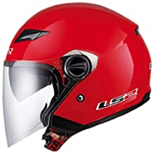 LS2 Helmets OF569 Open Face Motorcycle Helmet (Solid Red, Large)