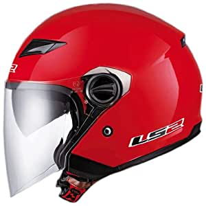 LS2 Helmets OF569 Open Face Motorcycle Helmet (Solid Red, Small)