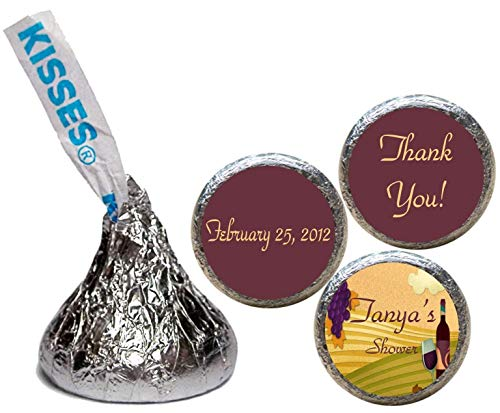 Wine and Grapes Wedding Shower Stickers for the Bottom of Chocolate Kisses (Set of ()