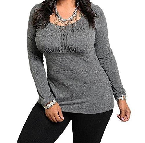 Women long sleeve, ANGLIN Women Plus Size Fashion Long Sleeve Shirt Casual Blouse Top T-Shirt (XL, gray)