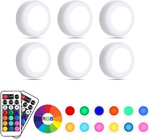 Lampe de Placard, Eterbiz Lampe LED Veilleuse RGB 13 couleurs sans fil, d'atténuation de luminosité avec télécommande alimentée par batterie, paquet