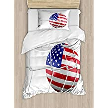 Sports Decor Duvet Cover Set by Ambesonne, USA American Flag Printed Soccer Ball in a Net Goal Success Stylized Artwork, 2 Piece Bedding Set with 1 Pillow Sham, Twin / Twin XL Size