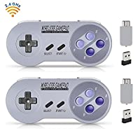Wireless Controller for SNES Classic Edition/NES Classic Edition, Gamepad With USB Wireless Receiver Can Play With Windows,IOS,Liunx,Android Device (2 Packs)
