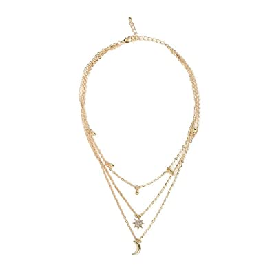 f09cab68aa Buy Indove Women's Mini Faux Pearl Row Triangle Geometric Pendant Layered  Gold Color Necklace Jewelry with Adjustable Chain (Style-5) Online at Low  Prices ...