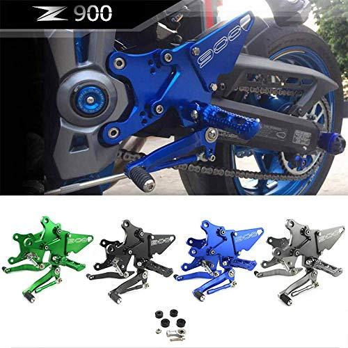 FATExpress Motorcycle CNC Billet AdjustableRearsetsRear Set Passenger Foot Peg Footpeg Footrest Bracket Set For 2017-2018 Kawasaki Z900 ZR900 Z ZR 900 17-18 (Grey)