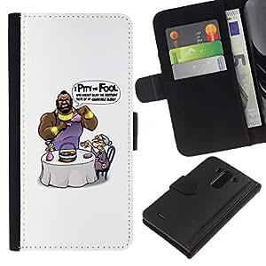 LECELL--Cuero de la tarjeta la carpeta del tirón Smartphone Slots Protección Holder For LG G3 -- Lástima que El Loco Mr T divertido --