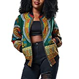 Luluka Women's Long Sleeve Print Dashiki Ethnic Style Africa Baseball Jacket US Small Green