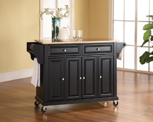 Crosley Furniture Rolling Kitchen Island with Natural Wood Top - Black by Crosley Furniture (Image #3)