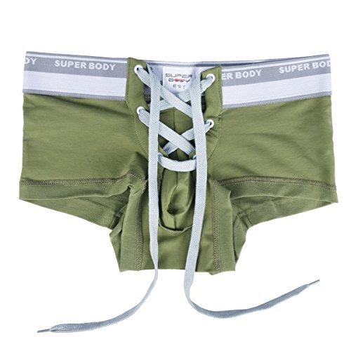 YiZYiF Men's Lingerie Jock Strap Front Lacing Backless Sporty Boxer (Large(Waistline 34.0-42.5