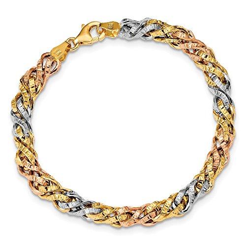 - Solid 14k Gold Tri Color Textured Fancy Link Bracelet 7.5