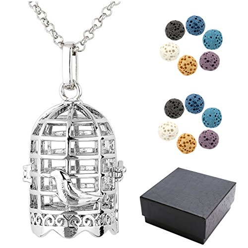 Top Plaza Aromatherapy Essential Oil Diffuser Necklace Antique Silver Bird Cage Locket Pendant Necklace W/12 Dyed Lava Stones