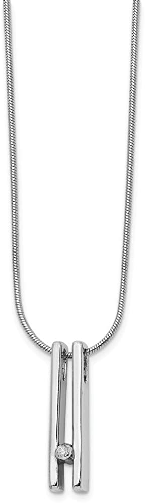 Diamond Necklace One Size Sterling Silver White Ice .02ct