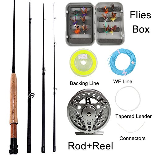 Sougayilang Saltwater Freshwater Fly Fishing Rod with Reel Lines Flies Combo Kit (Silver Fishing Kits) (Combo Fly)