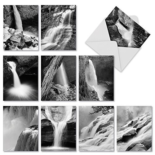 """10 All-Occasion Note Cards with Envelopes (4"""" x 5 ¼""""), 'Falling Waters' Stationery Set, Assorted Blank Greeting Cards for Weddings, Baby Showers, Thank You, Sympathy - NobleWorks ()"""