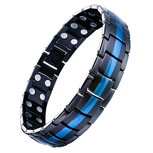 Feraco Magnetic Therapy Bracelet Double Strong Magnets Relief for Carpal Tunnel Arthritis Wristband,Black and Blue