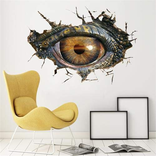 Dibujos animados de animales 3D dinosaurio ojos Grandes pegatinas de pared decoración del hogar sala de Estar DIY calcomanía piso Mural -